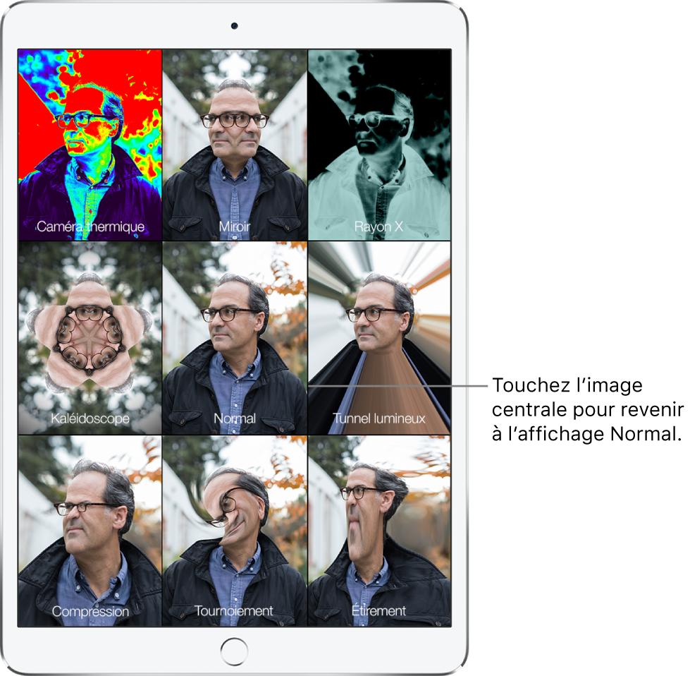 Un écran PhotoBooth montrant neuf vues du visage d'un homme, avec différents effets appliqués dans des tuiles distinctes. Dans la rangée du haut se trouvent, de gauche à droite, les effets Caméra thermique, Miroir et RayonX. Dans la rangée du milieu se trouvent, de gauche à droite, les effets Kaléidoscope, Normal et Tunnel lumineux. Dans la rangée du bas se trouvent, de gauche à droite, les effets Compression, Tournoiement et Étirement.