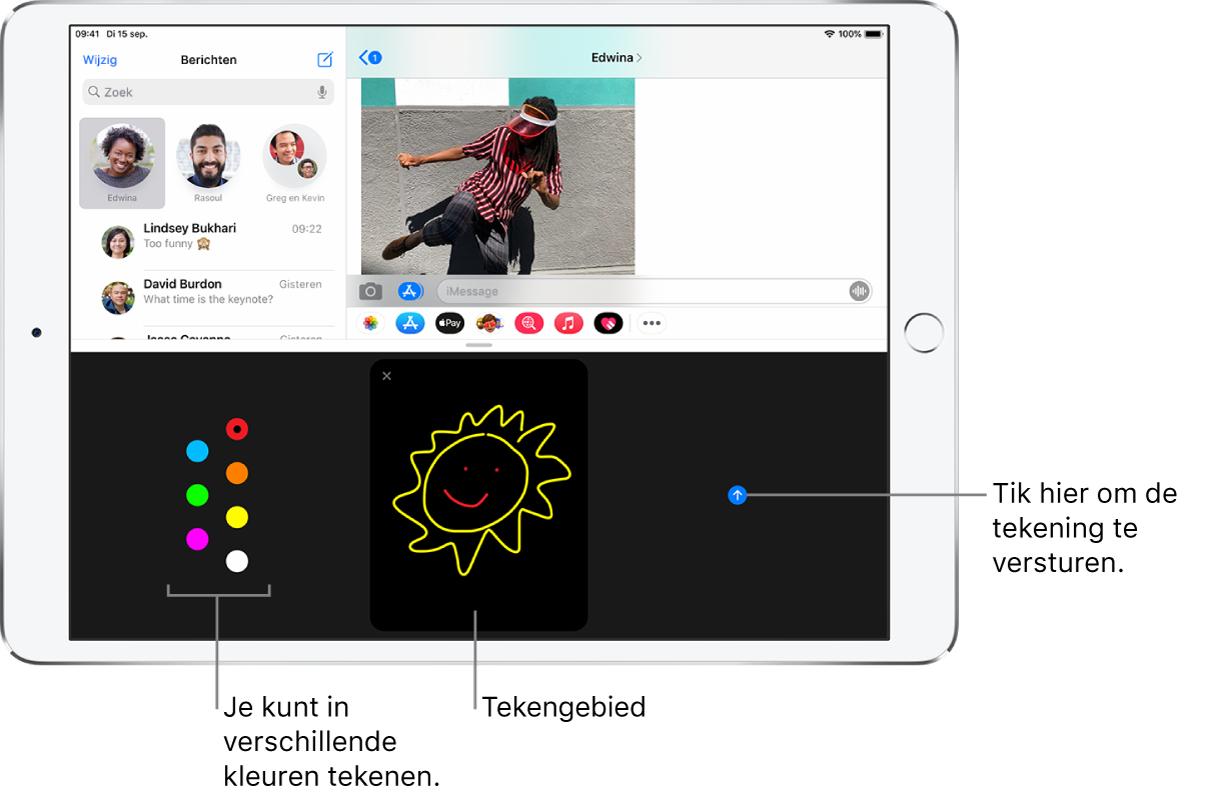 Een Berichten-scherm met onderin het Digital Touch-scherm. Links zie je de kleuropties, in het midden het tekengebied en rechts de verstuurknop.