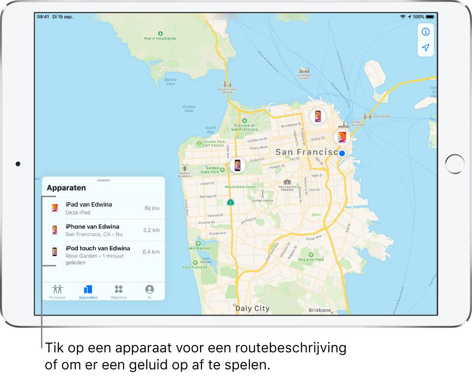 Het Zoekmijn-scherm waarin het tabblad 'Apparaten' is geopend. Er staan drie apparaten in de lijst 'Apparaten': iPad van Edwina, iPhone van Edwina en iPodtouch van Edwina. Hun locaties worden op een kaart van San Francisco weergegeven.