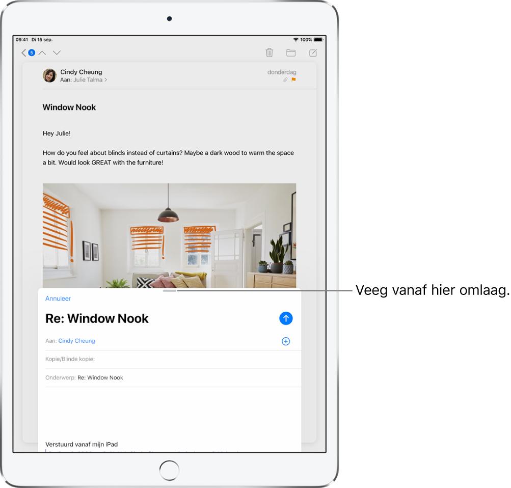 Een concept-e‑mail vóór een ontvangen e‑mail, met een bijschrift dat aangeeft hoe je de concept-e‑mail moet slepen om de andere e‑mail zichtbaar te maken.