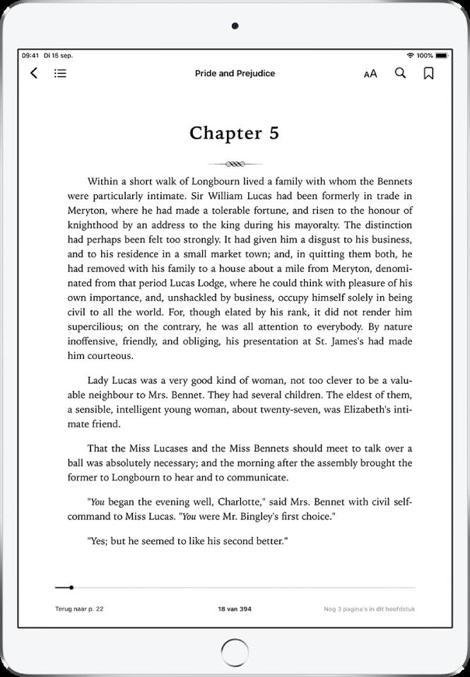 De pagina van een geopend boek in de Boeken-app. Boven in het scherm bevinden zich de navigatieregelaars met van links naar rechts knoppen voor het sluiten van een boek, de inhoudsopgave, het weergavemenu, zoeken en bladwijzers.