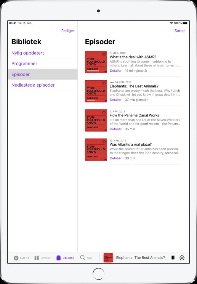 Bibliotek-fanen som viser podkaster som nylig er oppdatert.