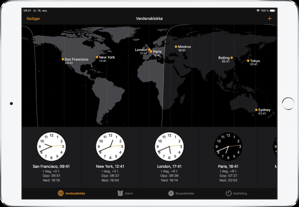 Verdensklokke-fanen, som viser klokkeslettet i forskjellige byer. Trykk på Rediger øverst til venstre for å administrere listen over byer. Trykk på Legg til-knappen øverst til høyre for å legge til flere. Knappene for Verdensklokke, Alarm, Stoppeklokke og Nedtelling vises nederst.
