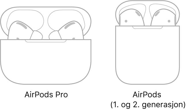Til venstre vises en illustrasjon av AirPodsPro i etuiet. Til høyre vises en illustrasjon av AirPods (andre generasjon) i etuiet.