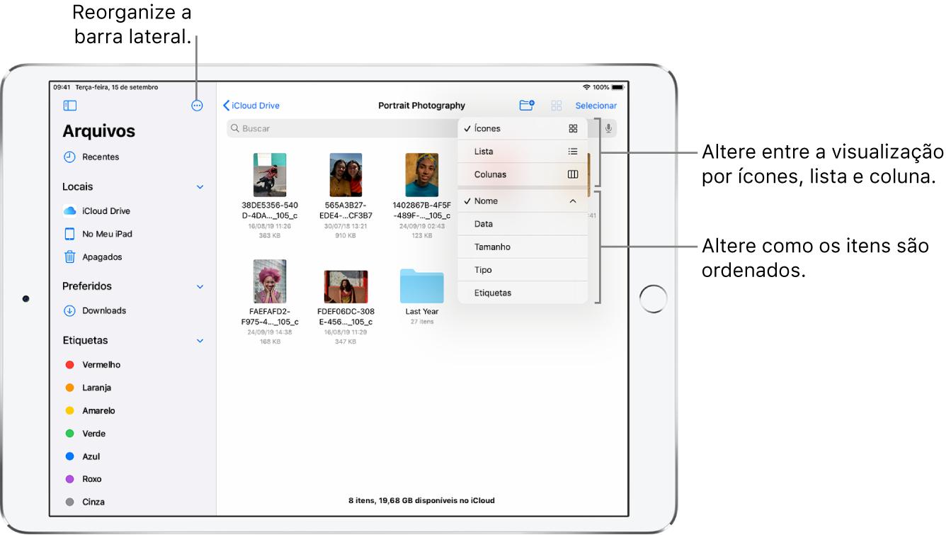 Local do iCloudDrive mostrando botões para reorganizar a barra lateral, para ordenar por Nome, Data, Tamanho e Etiquetas, e para alterar entre as visualizações por lista ou ícone.