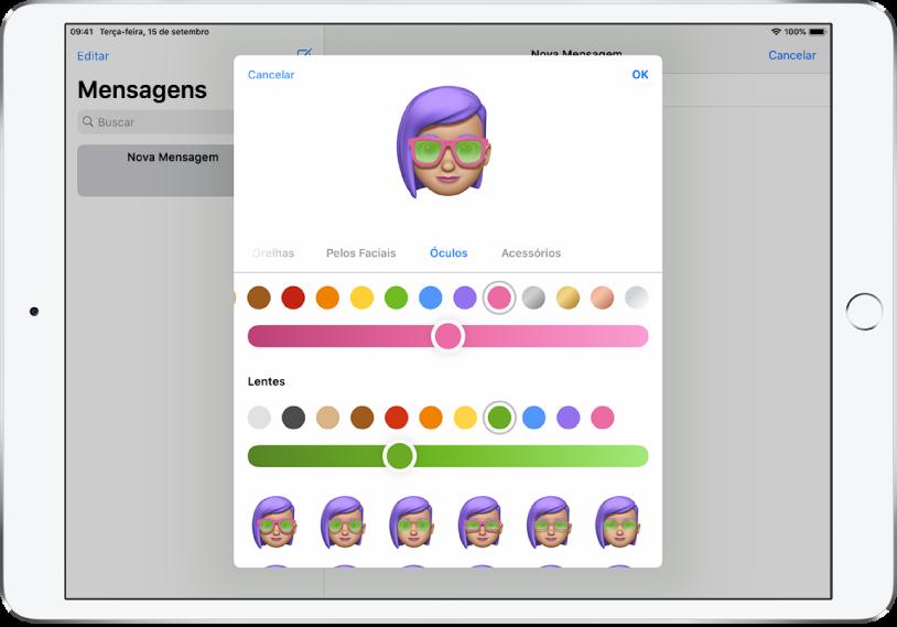 Tela de criação de Memoji no app Mensagens, onde você pode escolher óculos.