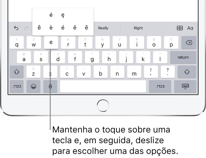 Tela mostrando caracteres alternativos acentuados da tecla e.