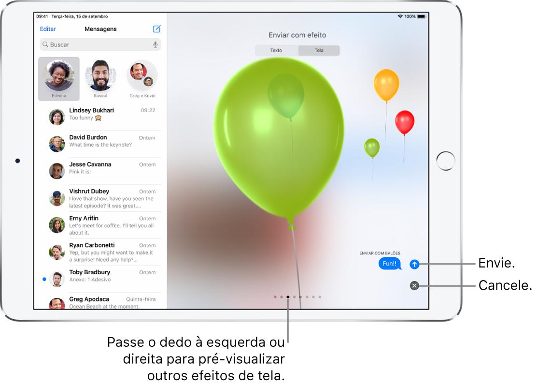 Pré-visualização de uma mensagem mostrando um efeito de tela cheia com balões.