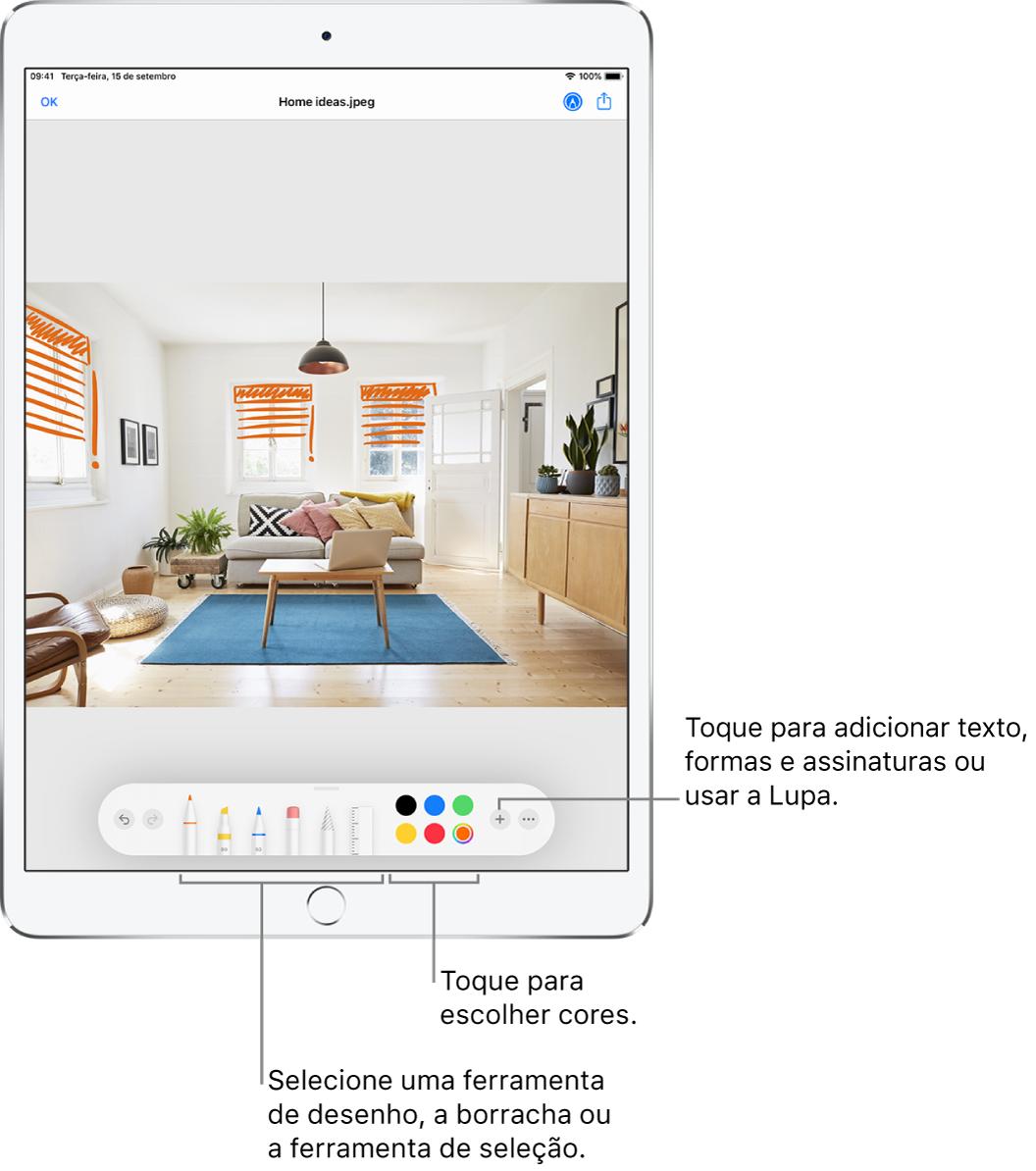 Uma imagem em uma janela de Marcação. Abaixo da imagem, da esquerda para a direita, estão os botões das ferramentas de Marcação: canetas, borracha, ferramenta de seleção, cores e botões para adicionar uma caixa de texto, assinatura e formas, e para escolher a Lupa.