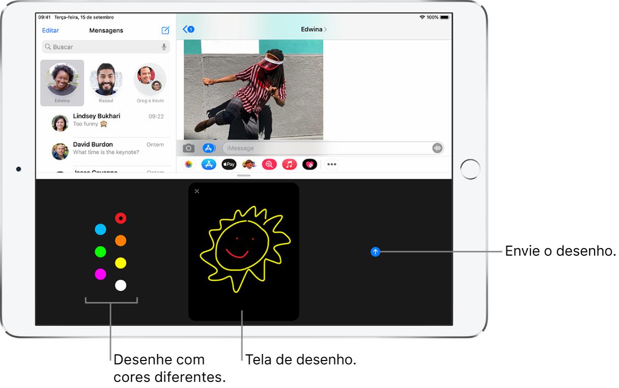 Tela do app Mensagens com a tela Digital Touch na parte inferior. As opções de cores estão à esquerda, a tela de desenho está no centro e o botão Enviar está à direita.