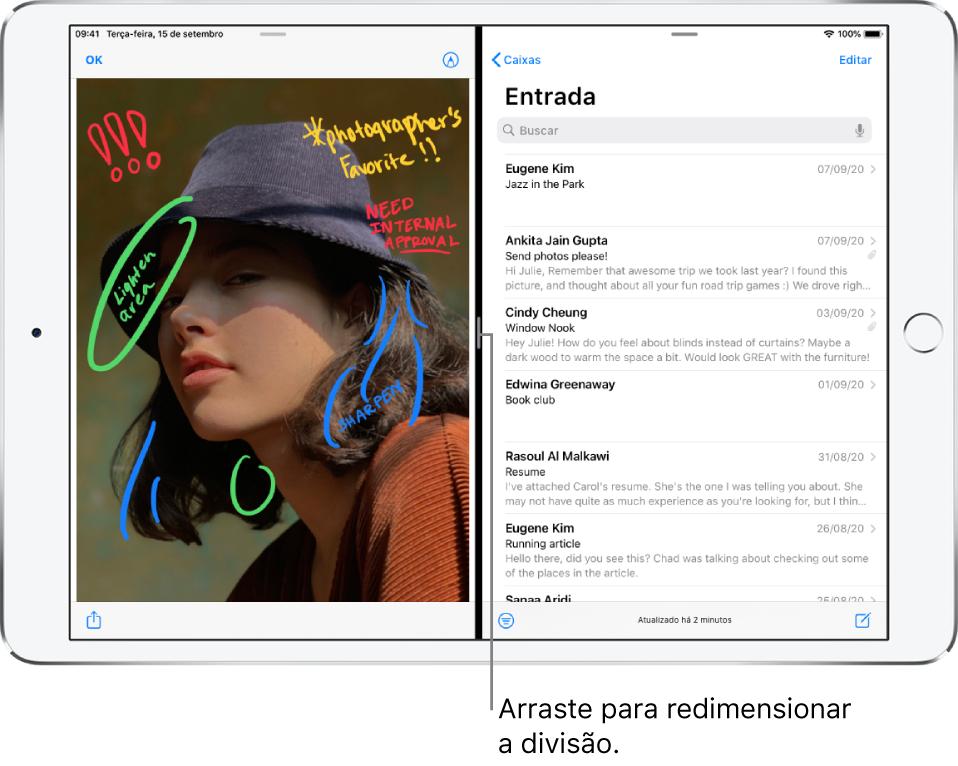 """Um app gráfico está aberto no lado esquerdo da tela e o Mail está aberto no lado direito. Uma observação na linha escura entre eles diz """"Arraste para redimensionar a divisão""""."""