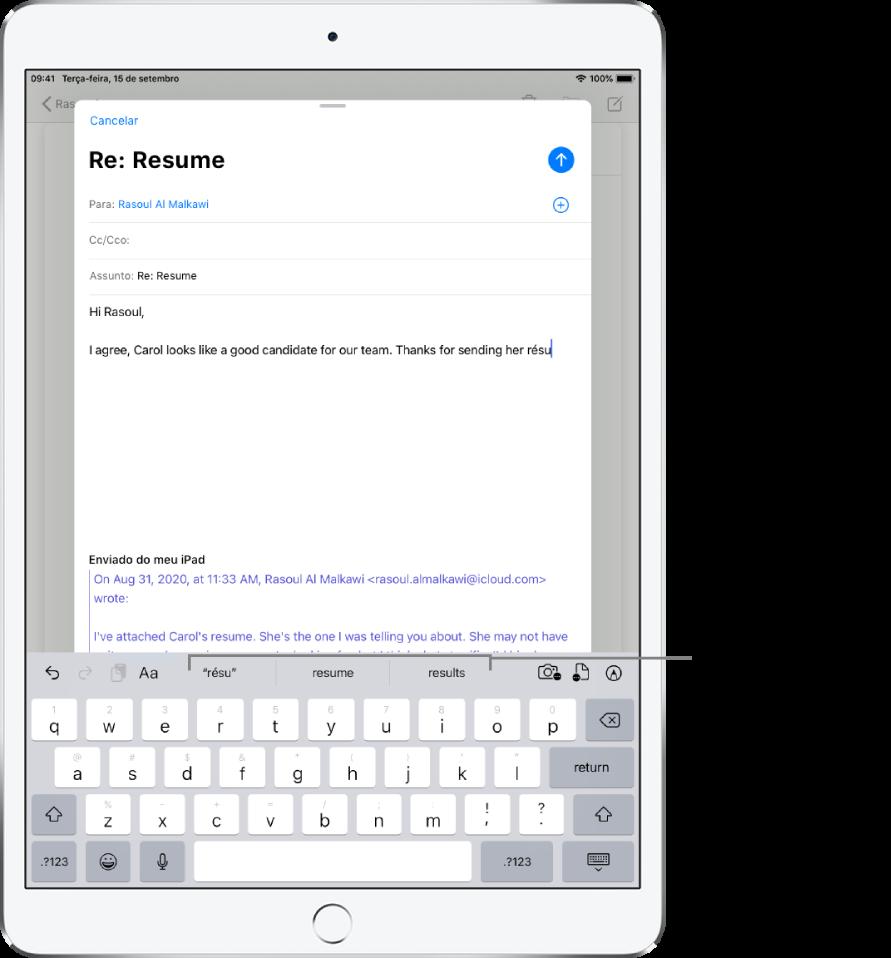 Mensagem do Mail exibindo as primeiras palavras de uma nova mensagem, com sugestões de texto preditivo para completar a palavra seguinte.