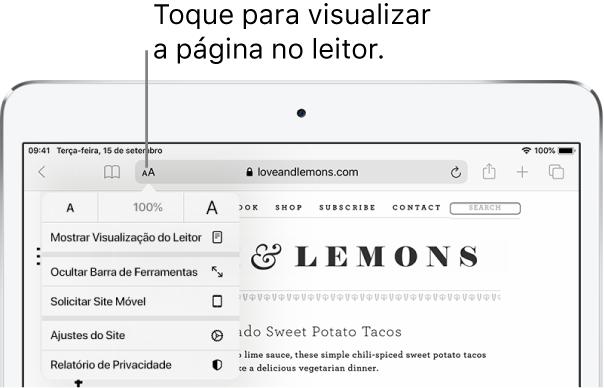 A barra de ferramentas do Safari, com o botão Leitor ao lado esquerdo do campo de endereço.