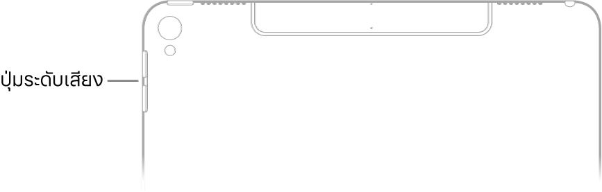 ส่วนบนของ iPad ด้านหลังที่มีคำบรรยายชี้ไปที่ปุ่มระดับเสียง