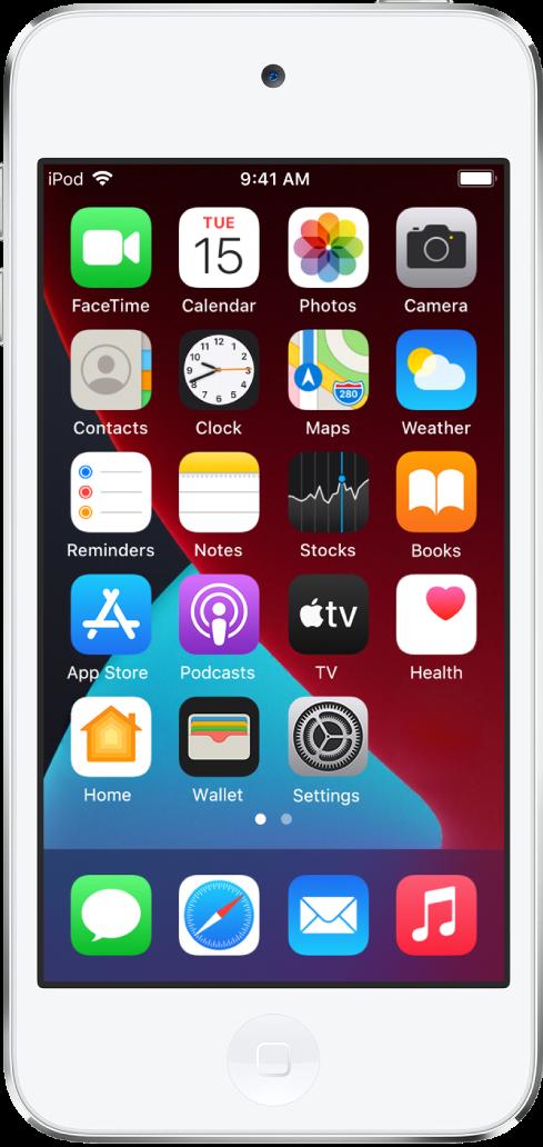 Der Home-Bildschirm des iPod touch mit aktiviertem Dunkelmodus.
