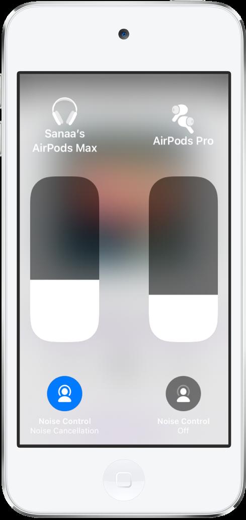 Lautstärkeregler für zwei AirPods-Paare. Unter den Lautstärkereglern befinden sich Tasten für die Geräuschkontrolle.
