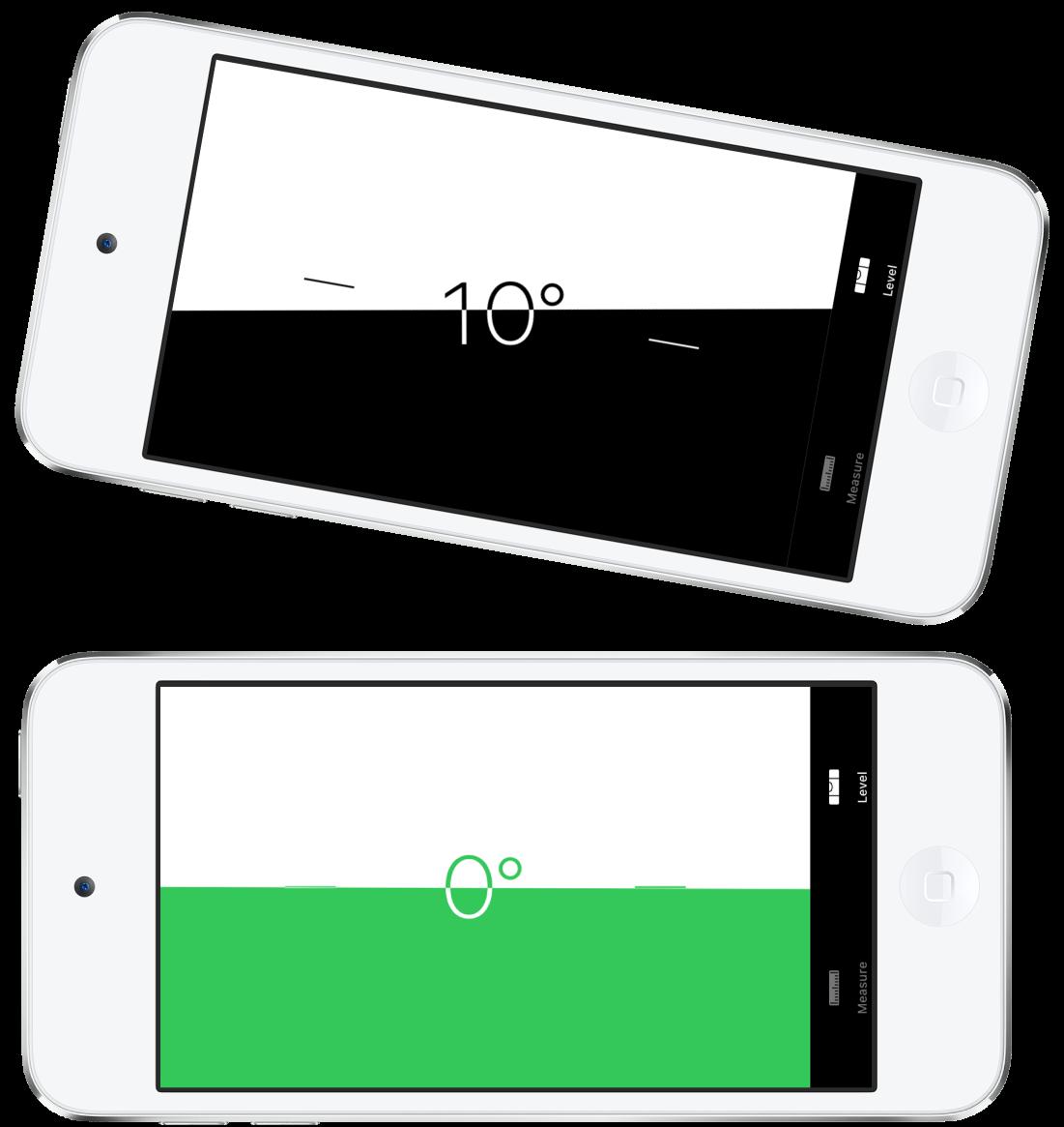 """Der Bildschirm """"Wasserwaage"""". Oben ist der iPod touch in einem Winkel von 10Grad geneigt, unten ist er gerade ausgerichtet."""