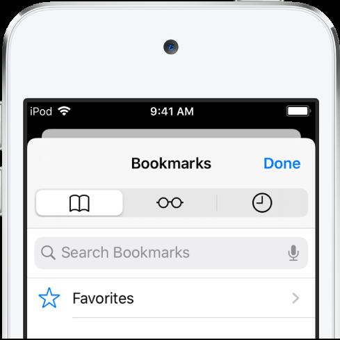 """Der Bildschirm """"Lesezeichen"""" mit Optionen zum Anzeigen von Favoriten sowie zum Durchsuchen des Verlaufs und Lesezeichen."""