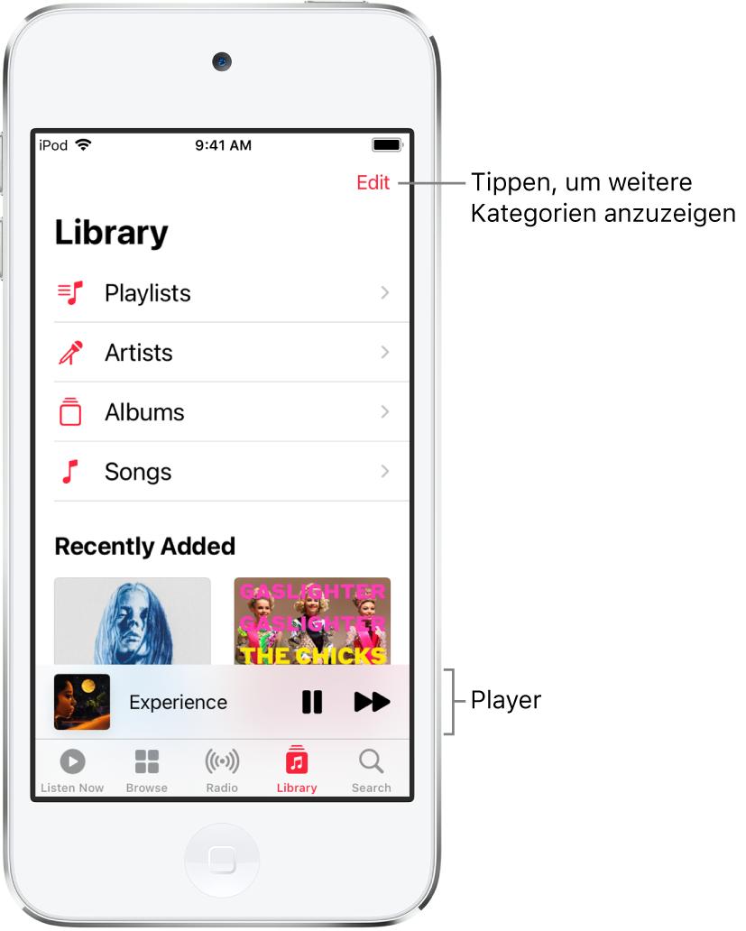"""Der Bildschirm """"Mediathek"""" mit einer Liste der Kategorien """"Playlists"""", """"Künstler"""", """"Alben"""" und """"Musiktitel"""". Die Überschrift """"Zuletzt hinzugefügt"""" wird unter der Liste angezeigt. Der Player mit dem Titel des aktuellen Musiktitels und den Tasten """"Anhalten"""" und """"Nächster Titel"""" unten."""