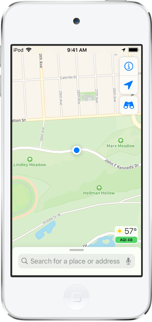 A map showing the current location inside a city park.