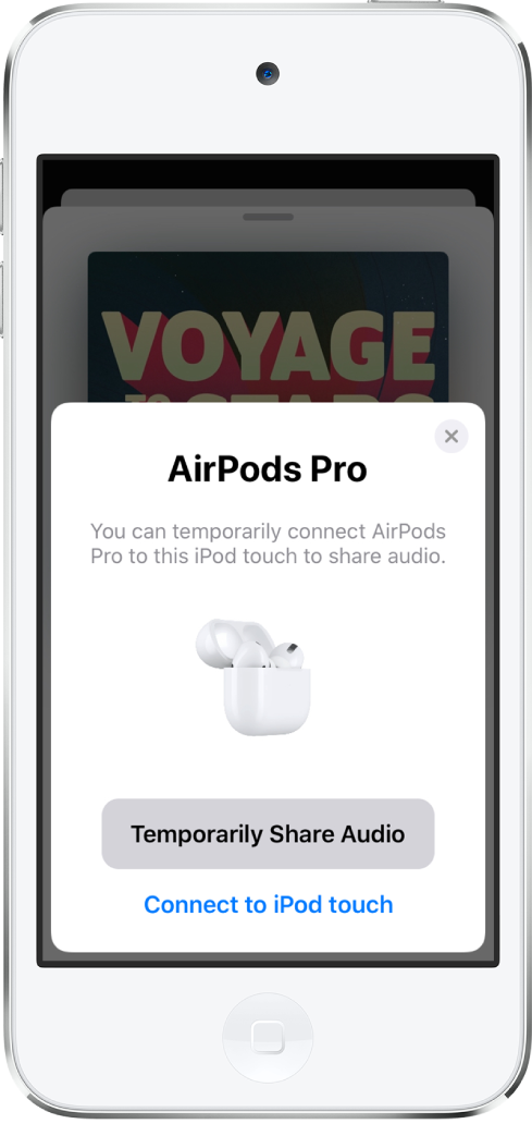 An iPod touch screen showing AirPods in an open charging case. Near the bottom of the screen is a button to temporarily share audio.
