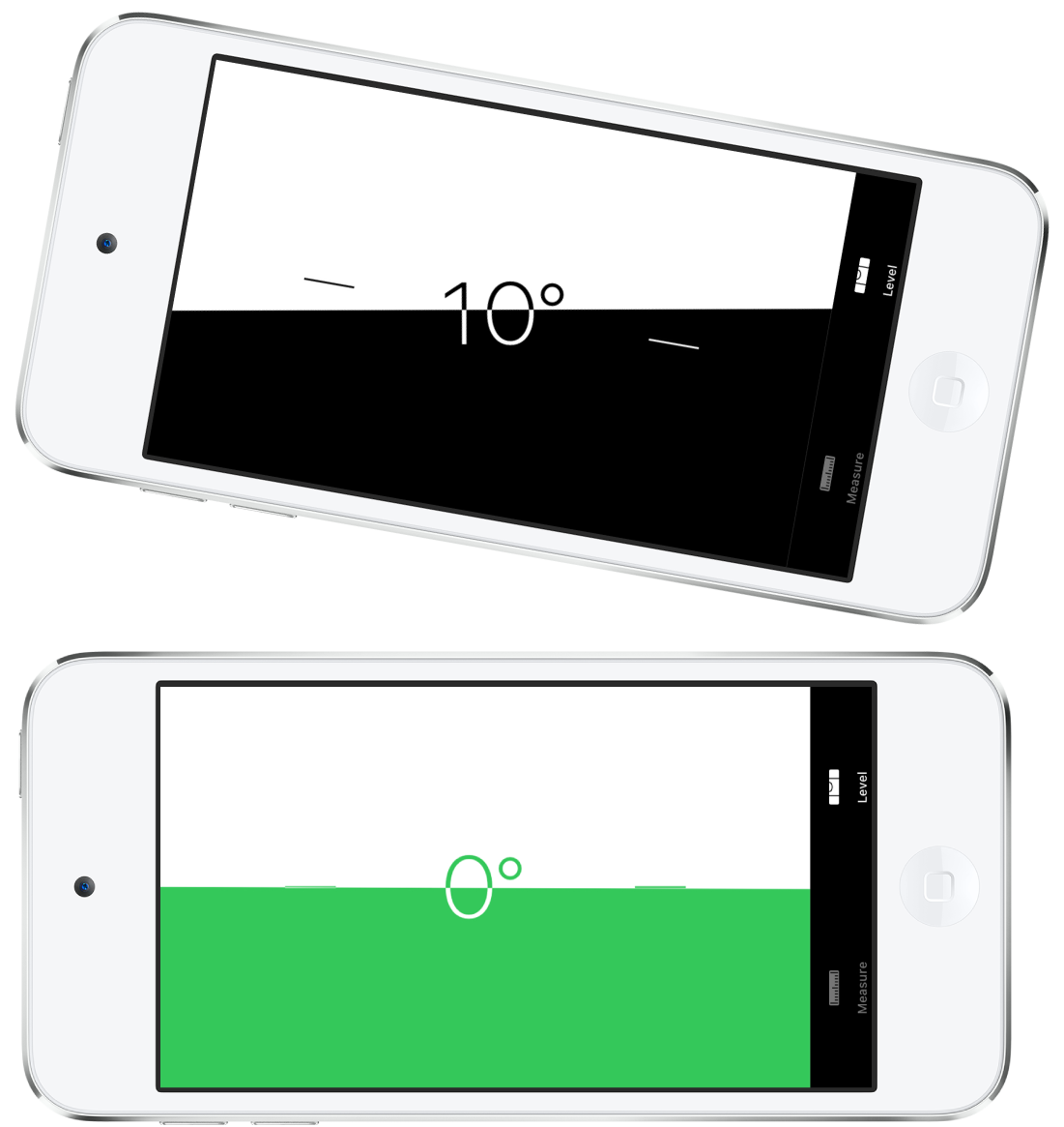 The level screen. On the top, iPod touch is tilted at an angle of ten degrees; on the bottom, iPod touch is level.
