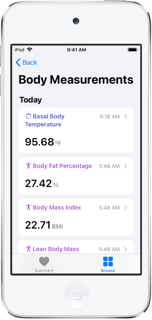 A details screen for the Body Measurements category.