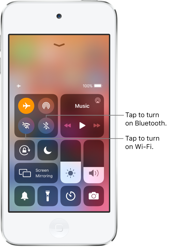 Control Center with airplane mode on. The buttons for turning on Wi-Fi and Bluetooth are near the upper-left corner of the screen.