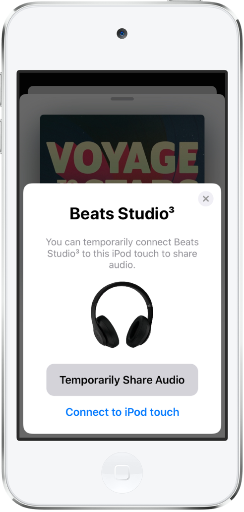 An iPod touch screen showing Beats headphones. Near the bottom of the screen is a button to temporarily share audio.