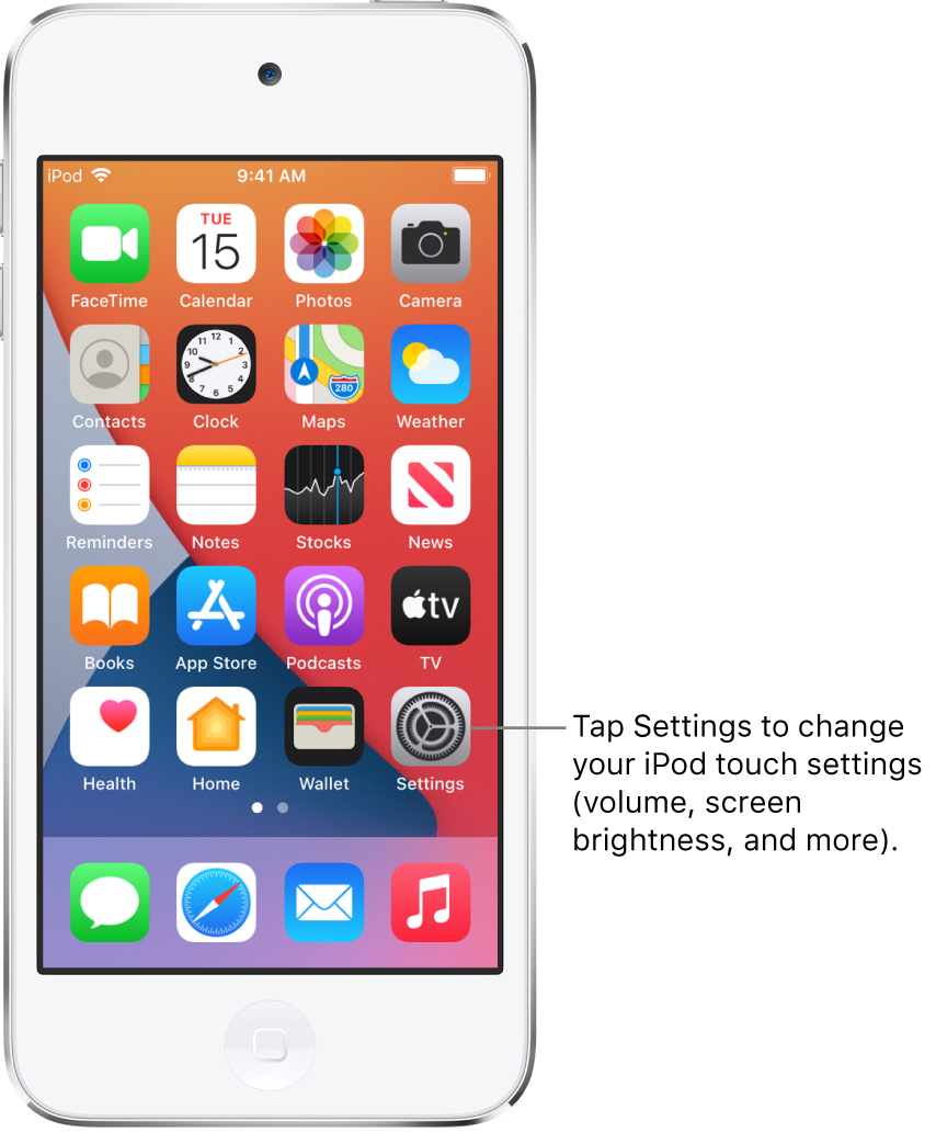 The Home Screen with several app icons, including the Settings app icon, which you can tap to change your iPod touch sound volume, screen brightness, and more.