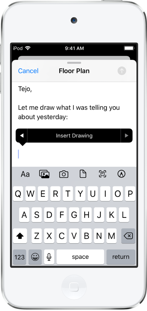 A draft email being composed with an insert drawing button visible in the middle of the screen.