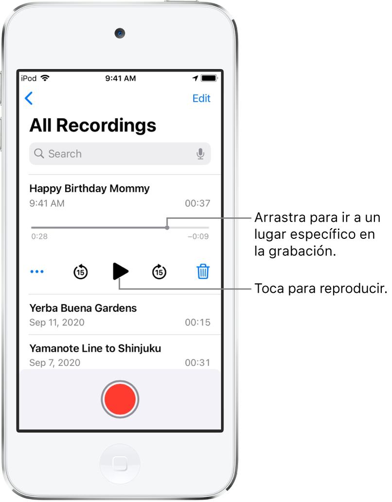 La pantalla de Notas de Voz con una grabación seleccionada en la parte superior. La línea del tiempo de la grabación tiene un cursor de reproducción y los tiempos de inicio y fin en cada extremo. Debajo de la línea del tiempo se encuentra el botón Más, que puedes tocar para editar, duplicar o compartir la grabación; y los botones para retroceder 15 segundos, reproducir, avanzar 15 segundos y eliminar. Debajo se encuentra una lista de grabaciones que se pueden abrir con un toque.