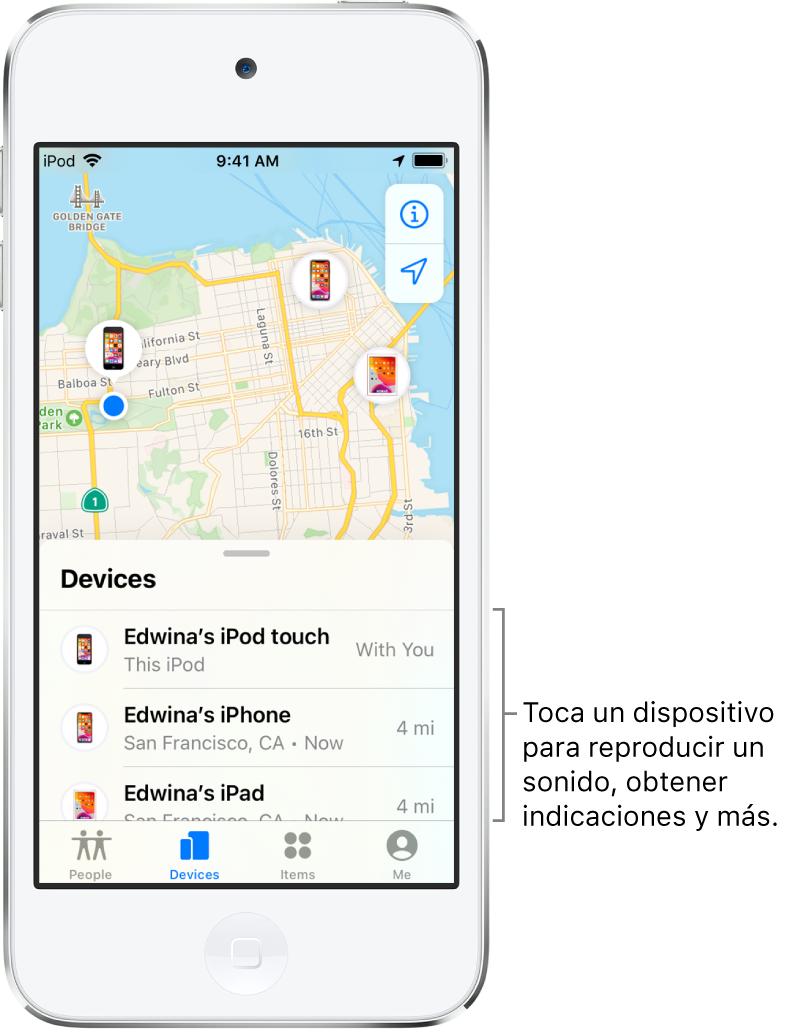 La pantalla de Encontrar mostrando la pestaña Dispositivos. La lista Dispositivos muestra tres dispositivos: iPodtouch de Erika, iPhone de Erika y iPad de Erika. Sus ubicaciones se muestran en un mapa de San Francisco.
