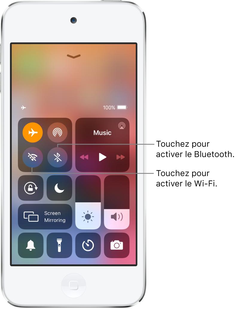 Centre de contrôle avec le mode Avion activé. Les boutons pour activer le Wi-Fi et le Bluetooth se trouvent près de l'angle supérieur gauche de l'écran.