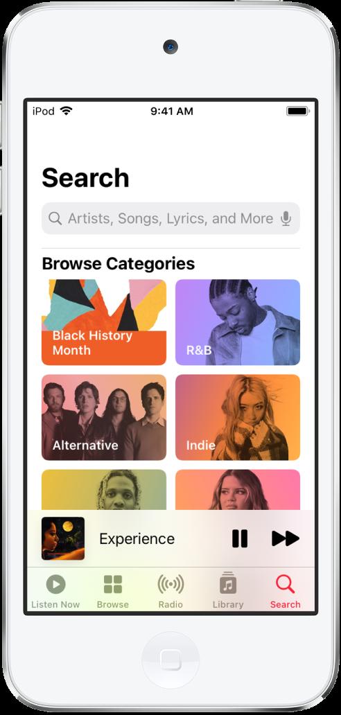 L'écran Rechercher, avec le champ de recherche en haut. La section «Parcourir les catégories» en dessous affiche six catégories.