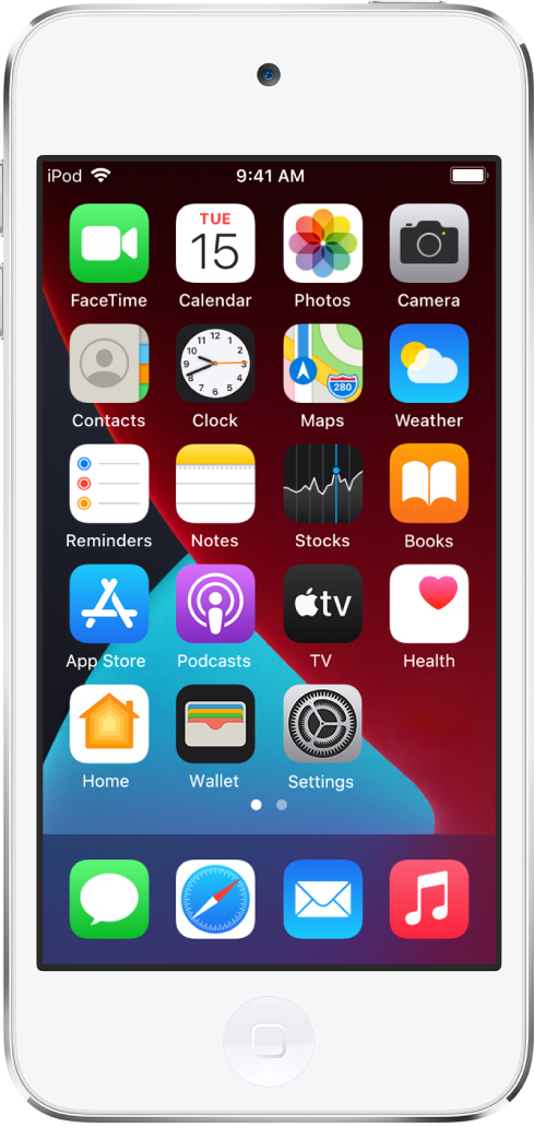 Écran d'accueil de l'iPodtouch avec le mode sombre activé.