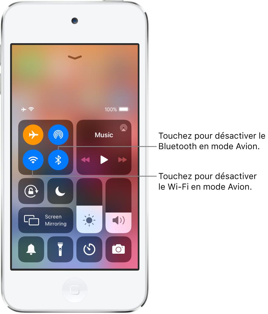 Le Centre de contrôle avec le mode Avion activé et des légendes expliquant que toucher le bouton en bas à gauche dans le groupe de commandes situé en haut à gauche désactive le Wi-Fi, et que toucher le bouton en bas à droite au sein de ce groupe désactive le Bluetooth.