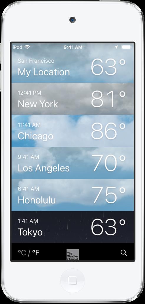 Une liste de villes affichant l'heure et la température actuelle pour chacune des villes.