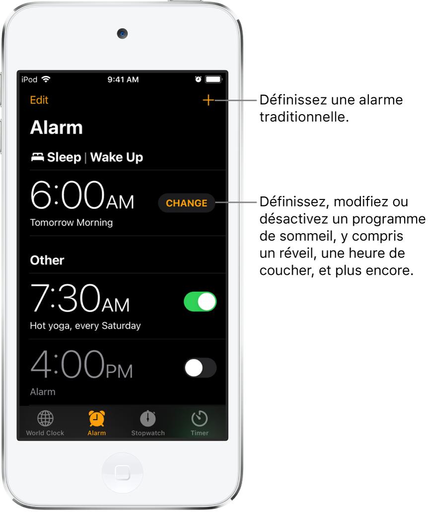 L'onglet Alarme affichant trois alarmes réglées à différentes heures, le bouton pour régler une alarme régulière en haut à droite, et l'alarme de réveil avec un bouton pour changer le programme de sommeil dans l'app Santé.