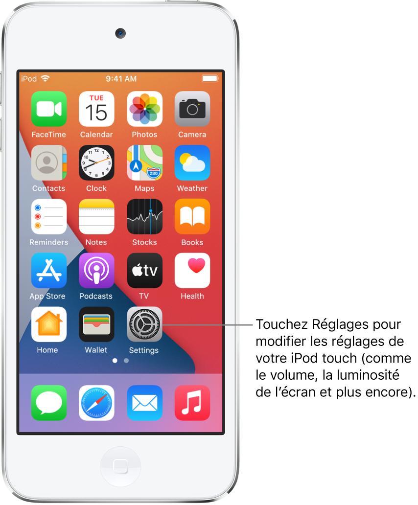 L'écran d'accueil avec plusieurs icônes d'apps, notamment l'icône de l'app Réglages, que vous pouvez toucher pour modifier le volume, la luminosité de l'écran et d'autres réglages de votre iPodtouch.