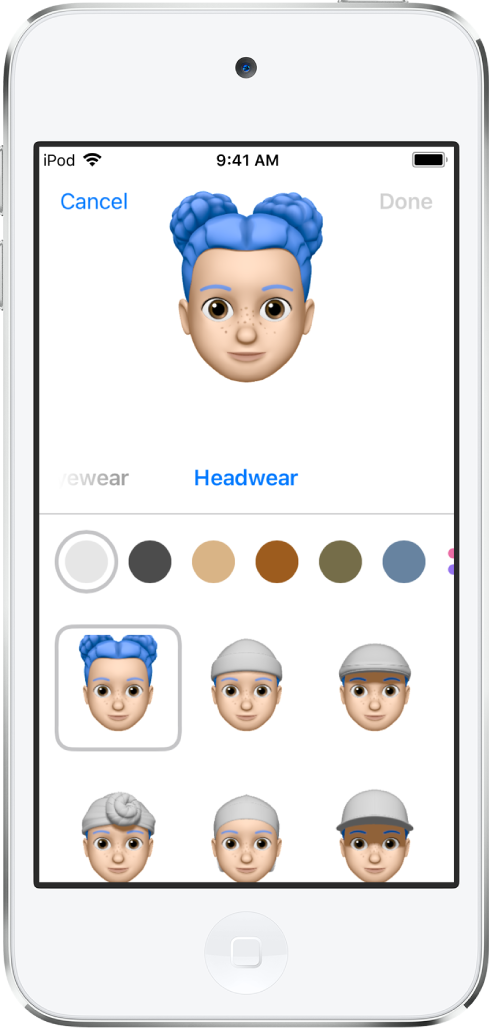 L'écran de création d'un Memoji, montrant un personnage en cours de création en haut, les caractéristiques physiques sous le personnage et les options de personnalisation pour la caractéristique sélectionnée en dessous. Le bouton OK se trouve en haut à droite et le bouton Annuler est en haut à gauche.
