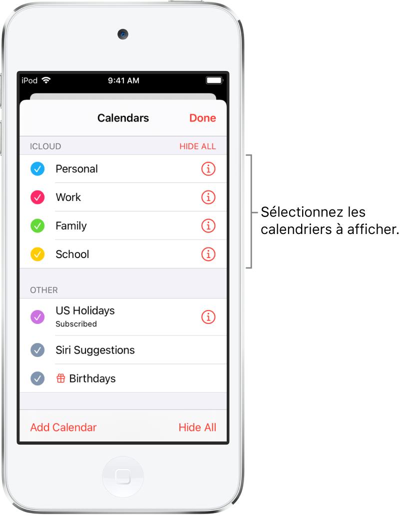 La liste des calendriers indique d'une coche les calendriers actifs. Le bouton OK pour fermer la liste se trouve dans le coin supérieur droit.