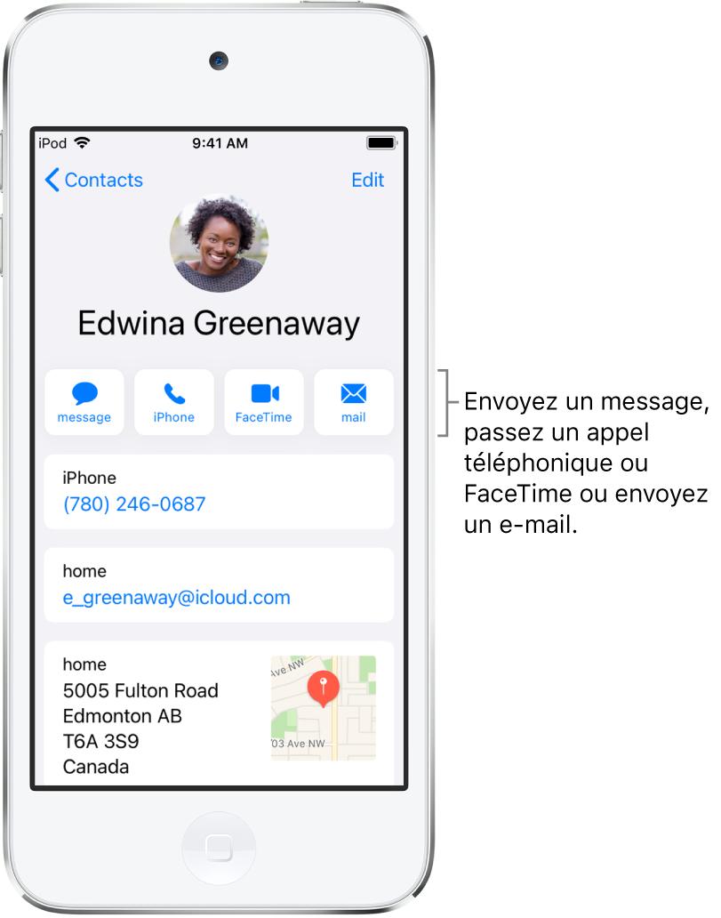 L'écran Infos pour un contact. Le nom et la photo du contact se trouvent en haut. En dessous se trouvent les boutons pour envoyer un message, passer un appel, passer un appel FaceTime et envoyer un message par e-mail. Sous les boutons se trouvent les coordonnées du contact.