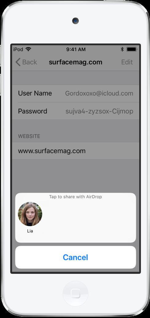 L'écran de compte pour un site web. En bas de l'écran, un bouton affiche une image de Lia sous l'instruction «Toucher pour partager avec AirDrop».