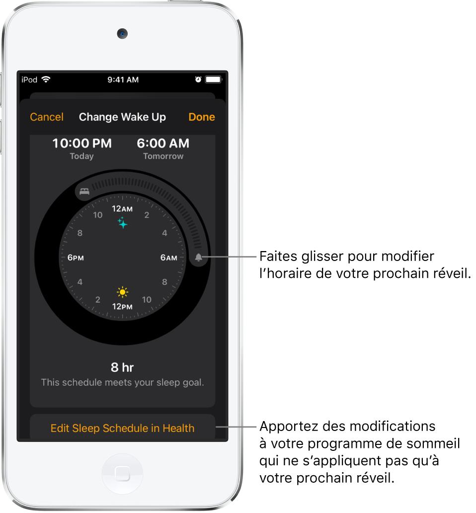 Un écran permettant de modifier l'alarme de réveil du lendemain, avec des boutons à faire glisser pour modifier les heures de coucher et de réveil, ainsi qu'un bouton pour modifier le programme de sommeil dans l'app Santé.