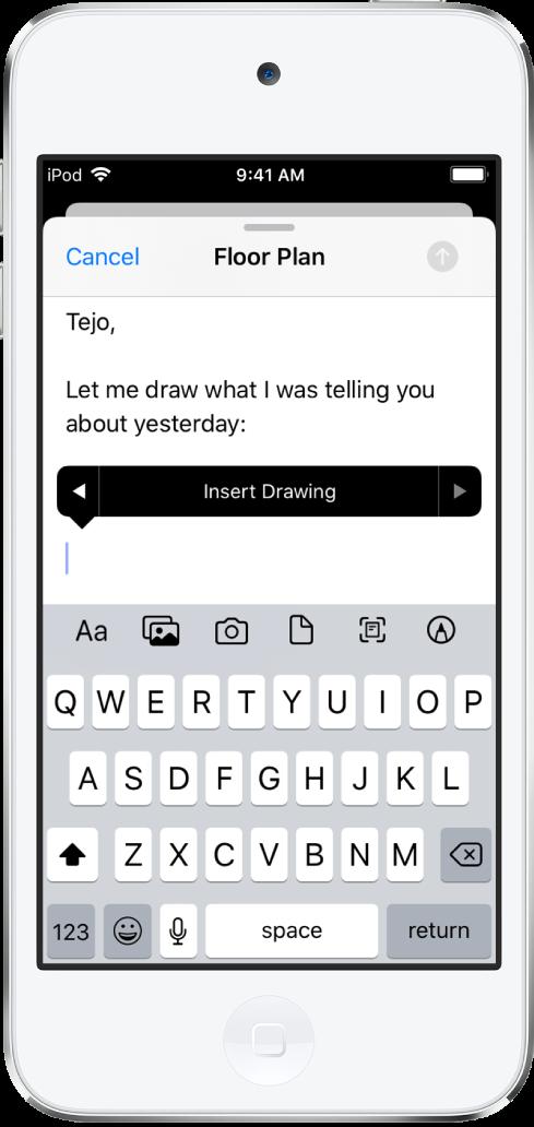 Brouillon d'e-mail en cours de rédaction avec le bouton Insérer un dessin visible au milieu de l'écran.