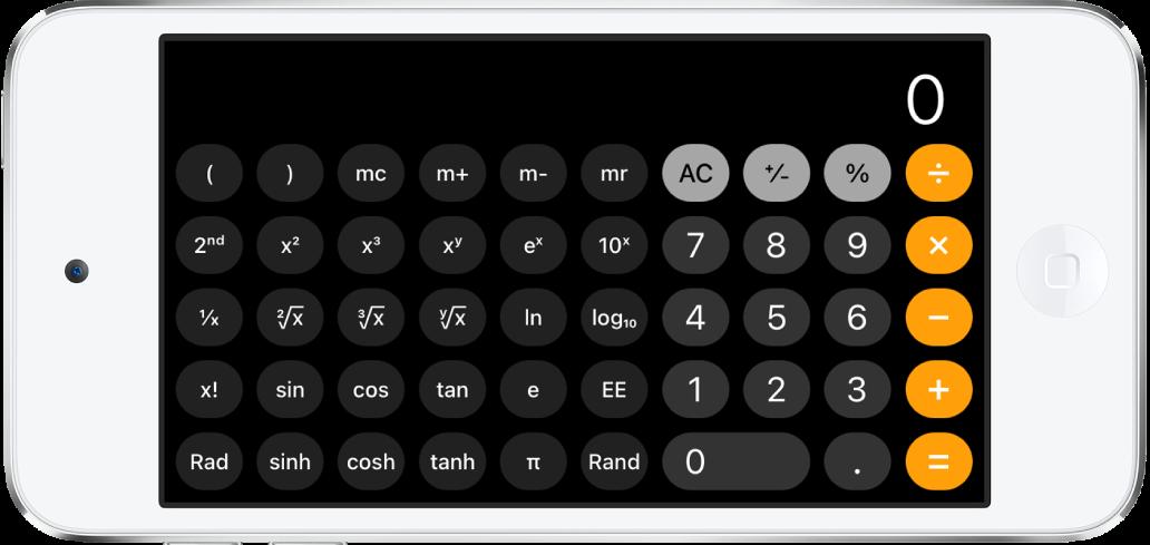 iPodtouch en orientation paysage affichant la calculette scientifique avec les fonctions exponentielles, logarithmiques et trigonométriques.