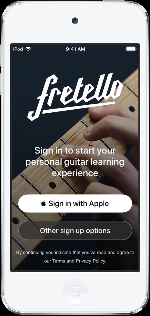 'Apple로 로그인' 버튼이 표시된 앱.