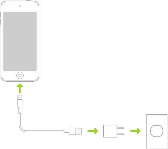 전원 콘센트에 꽂혀 있는 전원 어댑터에 연결된 iPodtouch.