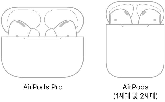 케이스에 있는 AirPods Pro의 그림이 왼쪽에 있음. 케이스에 있는 AirPods(2세대)의 그림이 오른쪽에 있음.